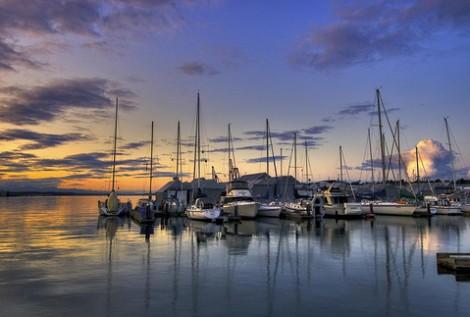 Budd Inlet marina sunset