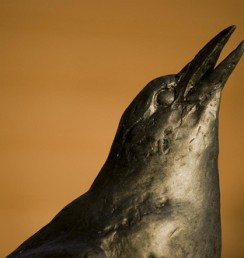 Crow sculpture, sunset