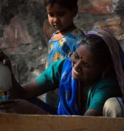 Indian street woman smile