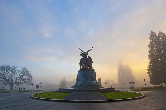 December: Misty morning for Winged Victory, Washington State Capitol