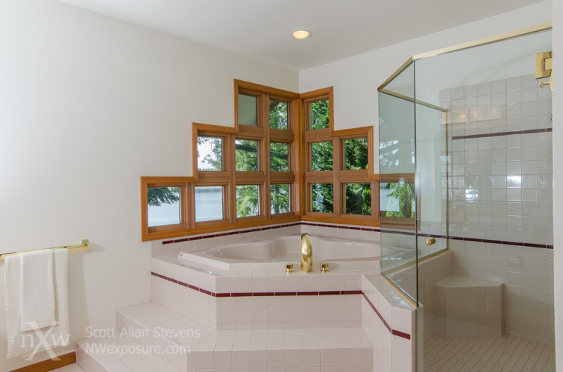 Puget Sound Waterfront Home master bath