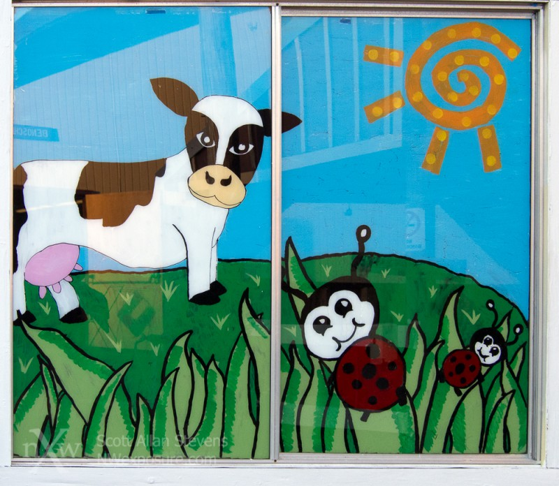 Painted window with cow and pasture at Thurston County Fair
